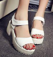 women sandals 2014 women's white genuine leather sandals platform high heels thick heel plus size open toe sandals slippers