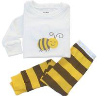 High Quality Kids Baby Cute Cartoon Bee Long Sleeve Girls Boys Pajamas Sets Chlidren Winter Cotton Stripe Pyjamas Clothes