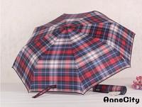 New plaid sunny and rainy folding male umbrella men parasols