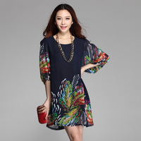 Vestido Plus Size XXXL Chiffon 2014 New Womens Elegant Printed Lantern Sleeve Dress 7Colors Causal Vintage Dress Free Ship ZEX99