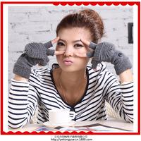 Korean fashion knitted wool short paragraph flip monochrome dress gloves