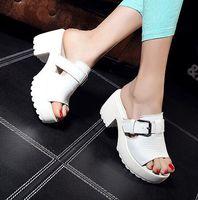 women sandals 2014 spring and summer shoes high thick heel platform genuine leather sandal slippers platform women's sandals