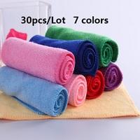 30pcs/Lot  seven colors wholesale random microfiber towel fabric roll cloths towel