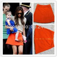 Beckham woman Vitoria star the same paragraph orange skirt A skirt OL occupation skirt