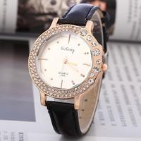 3FH08 GOGOEY Fancy Women Dress Wrist Watch Sparkling Essentials Gold Leather Strap Rhinestone Bezel Glitter Quartz Watch