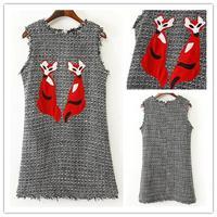 Free shipping women's sundresses in autumn winter 2015 t Fox patch embroidery woolen sleeveless dress