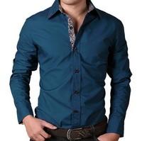 Good quality Mens 2014 New Fashion Slim Fit Dress Shirts Cotton Casual Long Sleeve Shirts Clothing Size:M~4XL 3 Colors MCT242