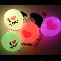 5pcs/bag,50pcs/lot white pink balloons with I love you print ,RGB flashing led light up balloons,wedding balloons