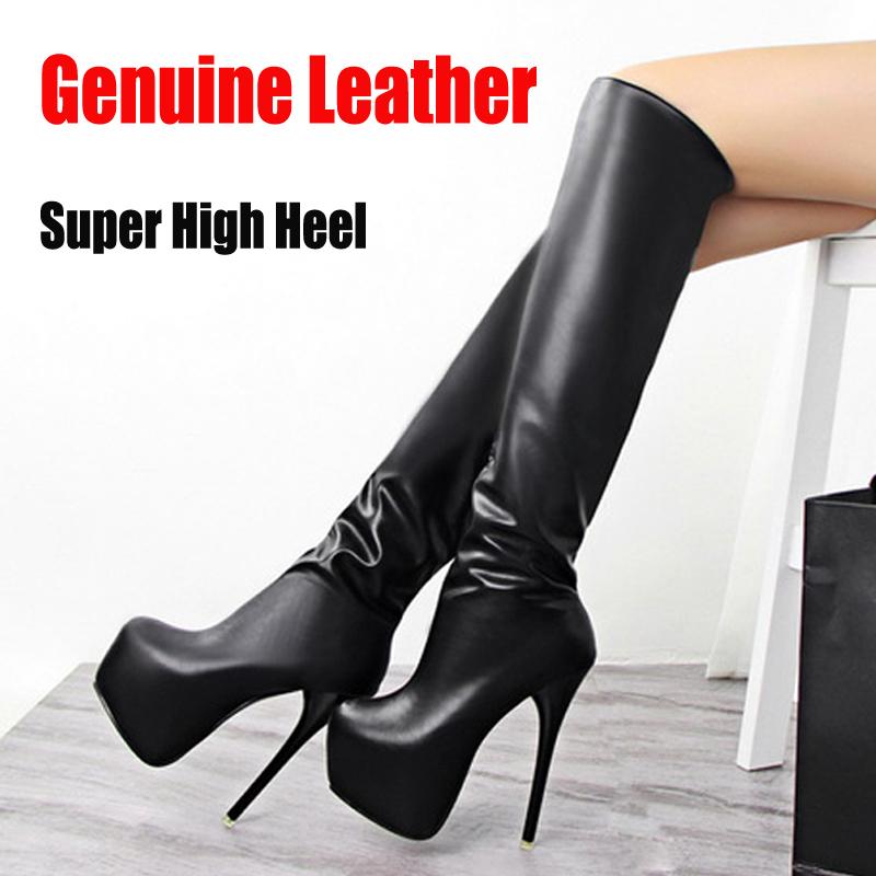 Neue winter frauen high heel lange stiefel sexy elegant kniehoher runde spitze weiblichen casual boot pu-leder schuhe