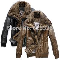 2014 New Winter Men Male Fur Stand Collar Thickening And Wool Windbreak Waterproof Lether Jackets Coat Men's Motorcycle Jacket