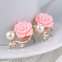 Sweet OL Pearl Rose Beads Rhinestone Earrings For Women Stud Earrings Fashion Jewelry 4 Colors Drop Shipping Y50*MHM661#S7
