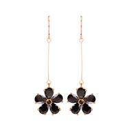 High Quality Fashion Cute Flower Shaped Black Zircon Stone Pendant Long Drop Earrings Bijoux for Women Girls