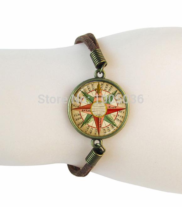 vintage polygon leather bracelets compass cuff bracelet women men gifts glass cabochon bracelets bangles jewelry wholesale(China (Mainland))