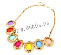 Free shipping!!!Fashion Statement Necklace,Christmas Gift, Zinc Alloy, with brass chain & Resin, with 3cm extender chain