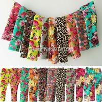 Retail 1pcs Baby Girls Winter Pants 100%Cotton Warm Toddler leggings Flower/Leopard PP Pants Warp-knitted Velvet Casual Trousers