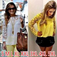 11color blusas femininas 2015 Women Lace Sleeve Chiffon Blouses Tops long Sleeve embroidery roupas femininas S-5XL