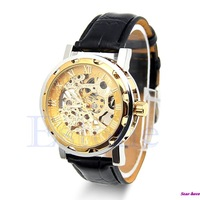 Classic Mens Black Leather Gold Dial Skeleton Mechanical Sport Army Wrist Watch Free Shipping