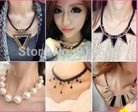 2014 new design Fashion women pearl accessories decoration design short chain necklace female necklace