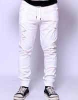 Men's Punk Rock Low Rise Harem Stonewash Ripped Hole Distressed Stretchable Skinny Trousers Pants Jeans Man Unisex