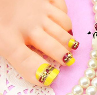 Free Shipping 24 piece/box 3D Toes Nail Stickers Retro style Toe False Nail Tips Acrylic Art Decals Decoration Accessories J52