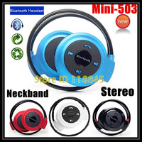 Sports Wireless Bluetooth Headset Mini-503 Folded Handsfree Neckband Earphones Headphone with Mic for iPhone 5s 6/6plus Samsung