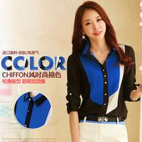 Brand Qaulity Blouse Shirt Chiffon Patchwork Pattern S-5XL Plus Size Female Blusas Roupas Casual Blouses Tops Women Clothing