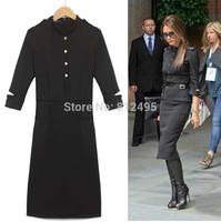 autumn and winter Beckham woman Vitoria star style slim OL belt stand collar button half sleeve military thin dress