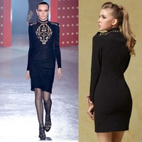Winter aumtumn Europe the major suit luxury Baroque gold embroidery  nail bead noble slim dress