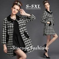 S-5XL Brand Ladies Beaded Plaid Long Sleeve Wool Overcoat Women Outerwear Female Winter Autumn Winter Pockets Coat G292