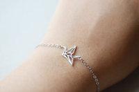 10pcs/lot-2015 Gold/Silver Dainty Bird Charm Bracelet Stainless Steel Jewelry Origami Crane Statement Cuff Bracelets for Women