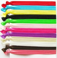 Set of 50 Solid color FOE Fold Over Elastic Headbands Knotted Hair Ties Fashion Hair Accessories