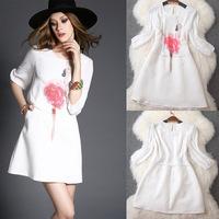 summer dress white sequin office dress chiffon midi dress casual vestidos femininos roupas patchwork laides vintage sexy T2891