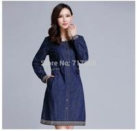 2014 Casual denim dress plus size women clothing autumn and winter vintage Pocket dress For Women long-sleeve vestido XL-5XL