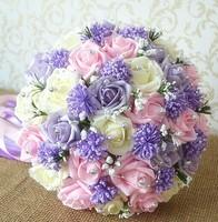 New 2015 wedding flowers bridal bouquets Artifical Pearl beaded Brooch Silk Rose Flower bride Bridal wedding bouquet  Z1571