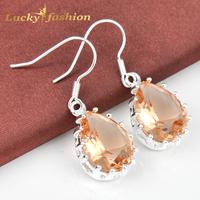 New Arrival  Wholesale Mark 925 Silver  Jewelry Water Drop  Morganite Dangle Earrings For Women