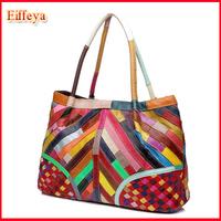 Women Leather Handbag Fashion Shoulder Tote Patchwork Woven Handmade Bags Women Messenger Bag Wholesale Free Shoipping