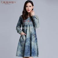 2014 fashion  new brand  winter  women's denim casual dress  O-neck long sleeved Vintage dresses plus size women clothing XL-5XL