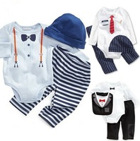 Free Shipping! Hot sell baby clothes sets cute baby boys girls 3 pcs clothing set Long sleeved baby Rompers hat pants newborn