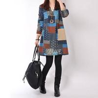 2014 New Autumn Vestidos Long-Sleeved Cotton Dress Women's National Wind Loose Casual Patchwork Dress Size M-XXL  b9 CB031819