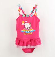 3-10yrs kids girls swimsuit cartoon child swimwear cute skirt style baby kitty bathing suits kids set one pieces swimwear 888#