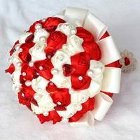 2014 New bride bouquet Hand Made Top quality pearl Silk Rose Flower bride Bridal wedding bouquet bridesmaid accessories X1718