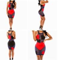 2015 New Fashion Skinny Women Bandage Dress Hearts Pattern Spliced Black Mesh Vestidos Transparency Sexy Party Dresses Clubwear