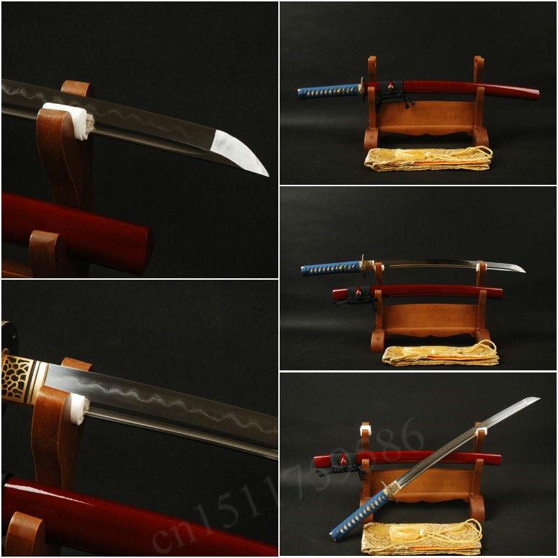 Folded steel clay tempered hand-forged full tang samurai katana wakizashi traditional Japanese sword with blade&real hamon DW04(China (Mainland))