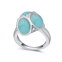 (111785)Alloy plated real gold with Opal and Austria Crystal rings - mushroom hut