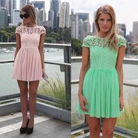 2014 Summer New Cute Women Lace Chiffon Patchwork Pinched Waist O-Neck Draped Mini Dress Vestidos, Pink, White, Green, S, M, L