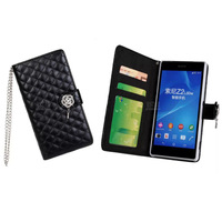Luxury leather PU Bling Camellia flower grid bag stand phone case flip Wallet with chain card holder for sony xperia z2
