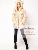 2014 womens long faux fur coat with double ears decoration on hat for free shipping for china post air mail