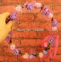 Bridal Colourful Flower Tiara Crowns Wedding Garlands Crown Floral Round Headband Flower Crown Hawaii Flower Crown