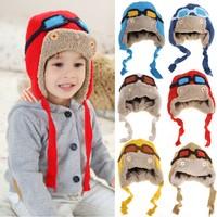 2015 New Winter Baby Beanie Faux Fur Hats Warm Cute Kids Girl Boy Toddler Knitted Crochet Knit Beanie Hat Cap b4