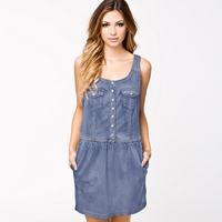 Women Cowboy Dress Sleeveless Pocket Designed Single-Breasted Elastic Waist Short Style Mini Fashion Tank Top Dress D611